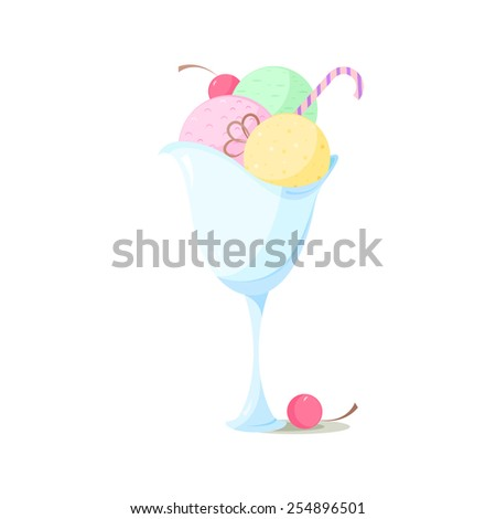 ice cream in a bowl vector illustration - stock vector