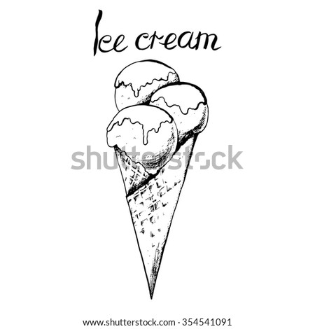 Ice cream in waffle. Hand drawn vector illustration. - stock vector