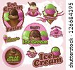 Ice Cream Label Badge Collection EPS 8 vector, no open shapes or paths. Grouped for easy editing. - stock vector