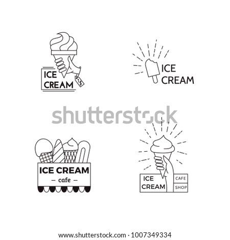 Ice Cream Label Badge Design Template Stock Vector 1007349334 ...