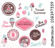 ice cream labels - stock photo