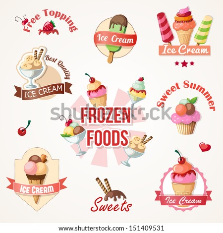 ice cream labels and badges collections eps10 vector illustration - stock vector