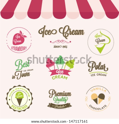 Ice cream labels set  - stock vector