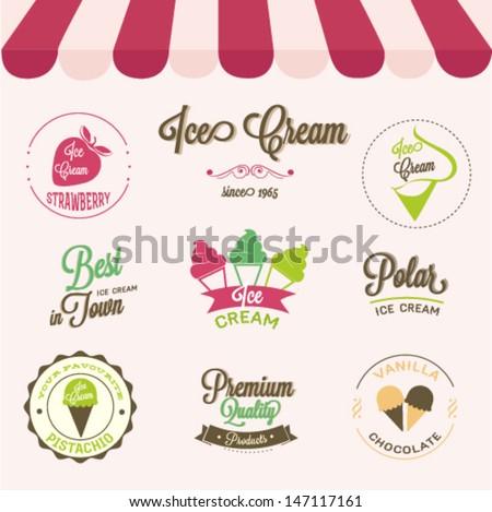 Ice cream labels set  - stock vector