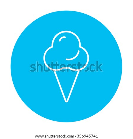 Ice cream line icon for web, mobile and infographics. Vector white icon on the light blue circle isolated on white background. - stock vector