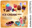 Ice cream menu - stock vector