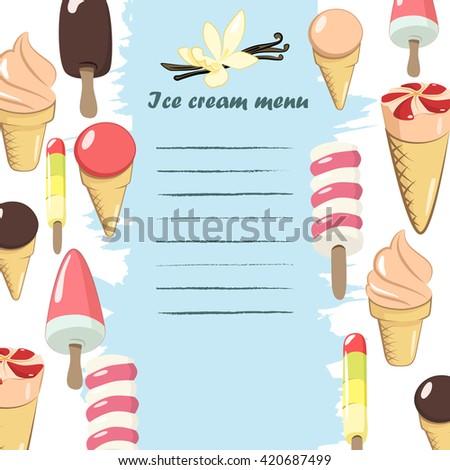 Ice cream menu template. Vector illustrations - stock vector
