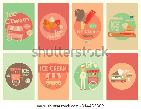 Ice Cream Mini Posters Set  in Retro Design Style. Ice Cream Vendor and Trolleys. Vector Illustration. - stock vector