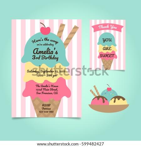 Ice Cream Party Birthday Invitation Template Stock Vector 599482427