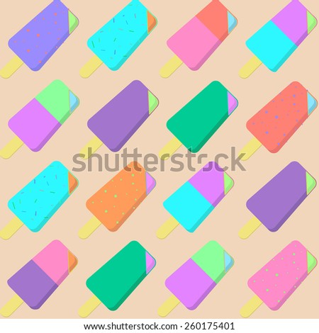 Ice cream pattern background - stock vector