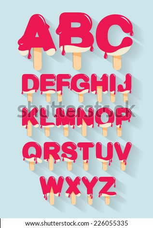 ice cream /popsicle alphabet/typography/typeface/font vector/illustration - stock vector