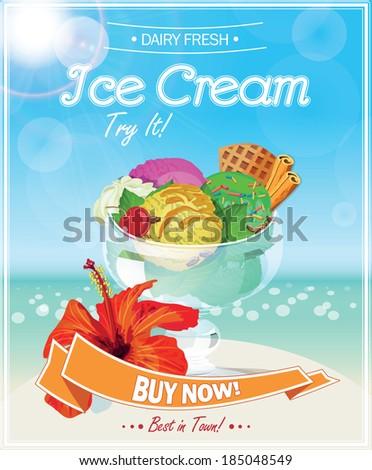 Ice Cream Poster. Vector illustration. - stock vector
