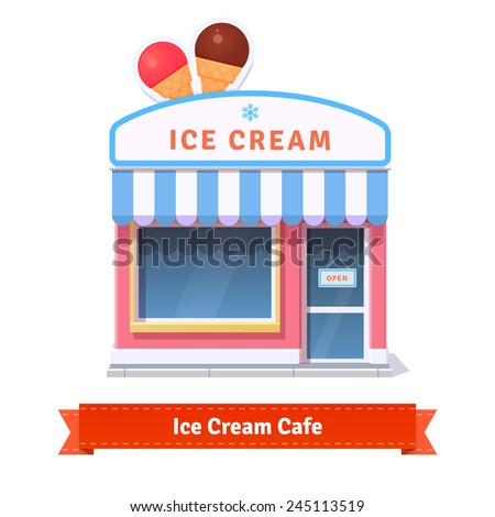 Ice cream restaurant and shop building facade. Flat style illustration or icon. EPS 10 vector. - stock vector