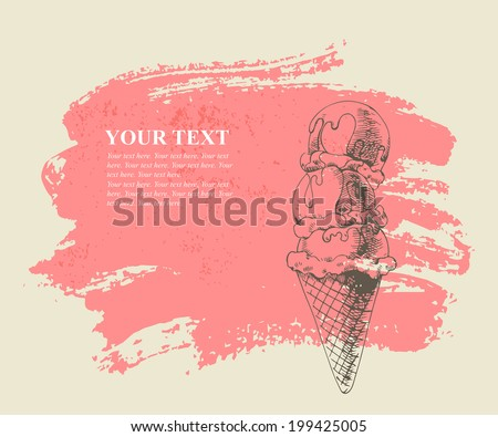 Ice cream scoops on cone on pink grunge background. - stock vector