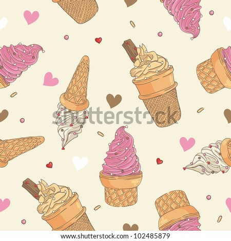 Ice cream seamless pattern - stock vector