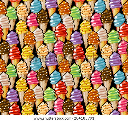 Ice cream seamless pattern. Cartoon soft ice cream cones. Rainbow tasty background. - stock vector
