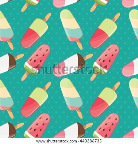 Ice cream seamless pattern, colorful summer background, delicious sweet treats, vector illustration - stock vector
