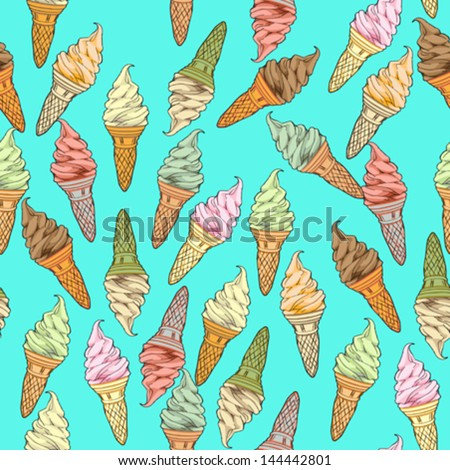 Ice cream seamless pattern, hand drawn doodles over a blue background - stock vector
