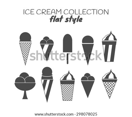 Ice cream set. Flat style. 8 ice creams and cones icons. Can be used for digital marketing, logos, design and illustrations. - stock vector