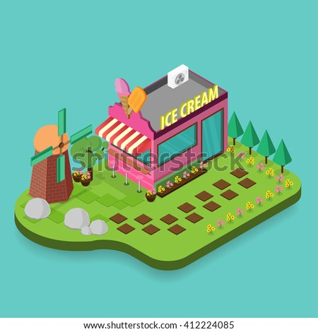 Ice cream shop icon. Isometric icon building ice cream isolated. 3d icons of building shop. Isometric exterior building ice cream shop. Flat style design on light green background Vector illustration