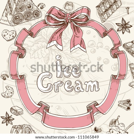 Ice cream sweet background - stock vector