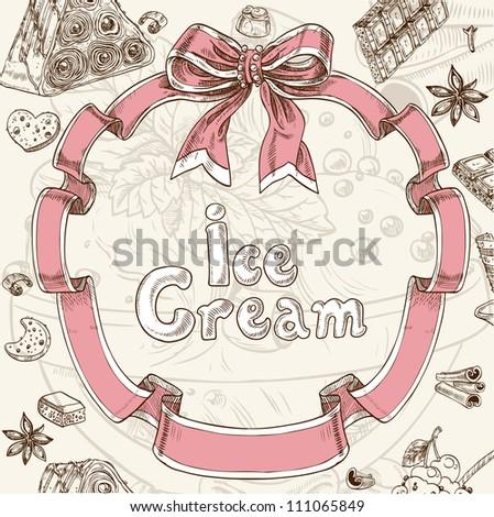 Ice cream sweet background - stock vector