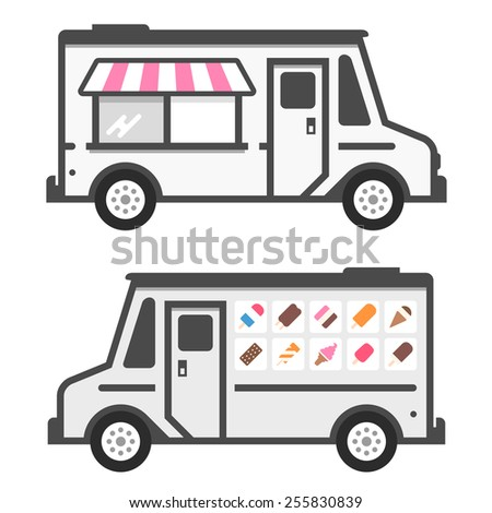 Ice cream truck illustration with product graphics - stock vector