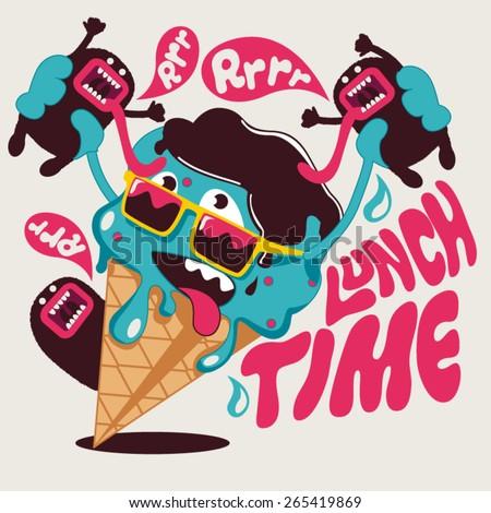ice cream vector graphic design for tee - stock vector