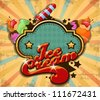 ice cream vintage background - stock vector