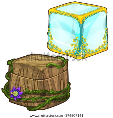Ice cube adorned with gold. A cubic box made of wood. Vector illustration.