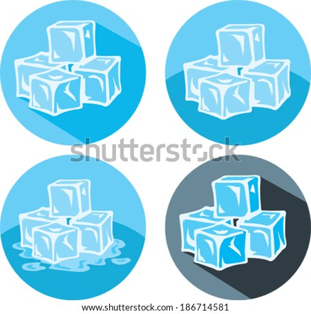 Ice cube icons - stock vector