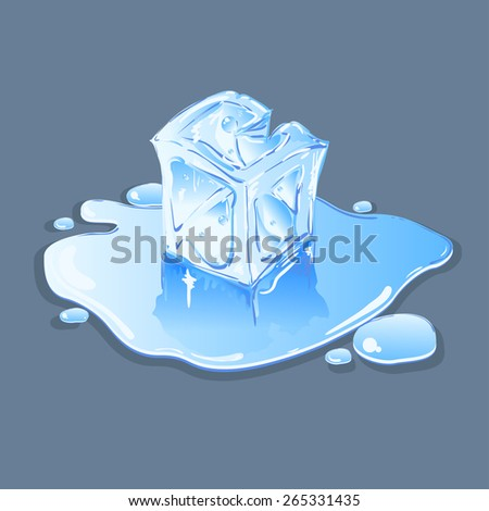 Ice cube in a puddle of water. - stock vector