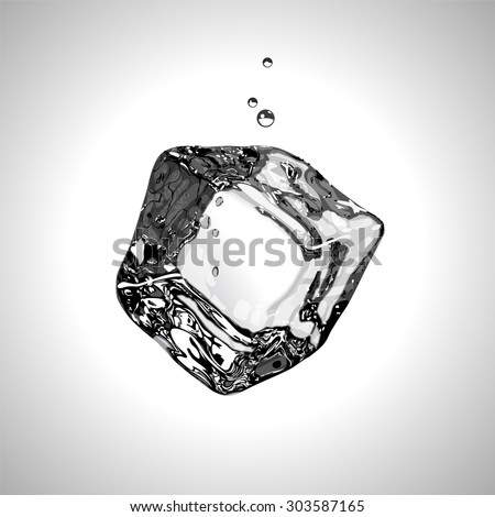 Ice cube in black and white. Vector illustration. EPS10. - stock vector