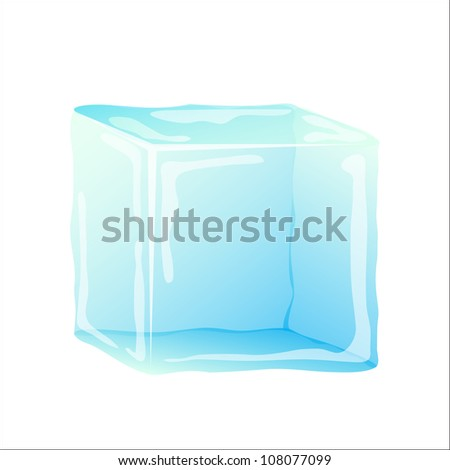 Ice cube isolated on white - stock vector