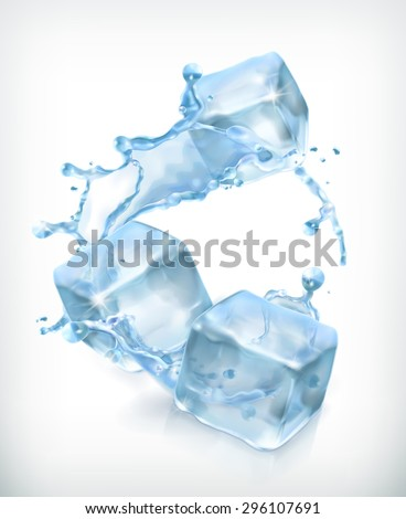 Ice cubes and a splash of water, cocktail vector illustration - stock vector