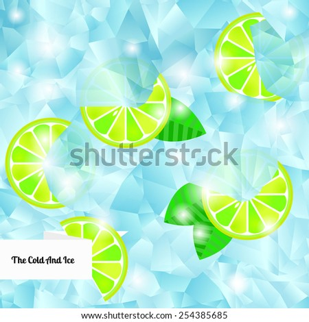 Ice cubes and lime.. Seamless background. Vector illustration. - stock vector