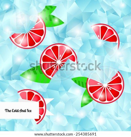 Ice cubes and slices of grapefruit. Seamless background. Vector illustration - stock vector