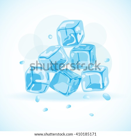 Ice cubes, vector illustration - stock vector