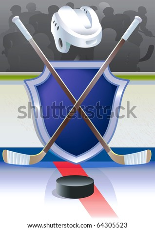 Ice hockey  background with detailed sticks, helmet and shield. Vector illustration. - stock vector