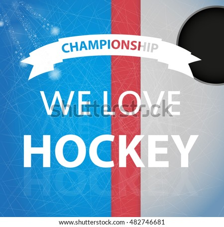 Ice hockey champion ship banner or poster template. Vector illustration.