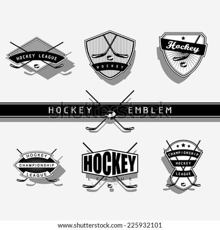 Ice Hockey emblem - monochrome  - stock vector