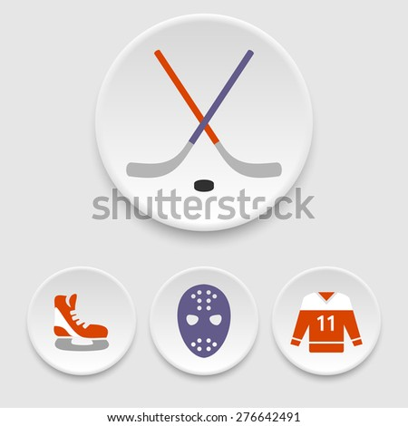 Ice hockey icons - stock vector