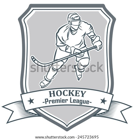 Ice hockey labes, badge and emblem design elements. Hockey player.
