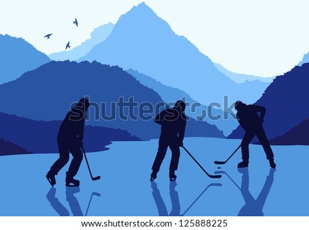 Ice hockey landscape vector background - stock vector