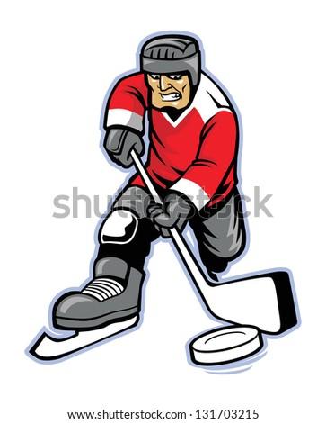 ice hockey player - stock vector
