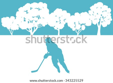 Ice hockey player in winter landscape vector background concept - stock vector