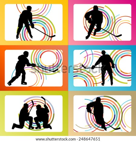Ice hockey player silhouette set vector background concept - stock vector