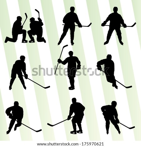 Ice hockey player silhouette sport abstract vector background concept - stock vector