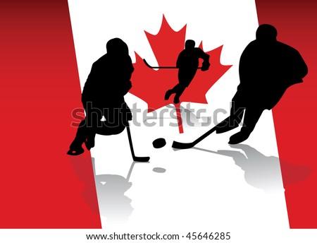 ice hockey players - stock vector