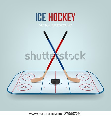 Ice hockey puck and crossed sticks on hockey field background. Vector EPS10 illustration. - stock vector